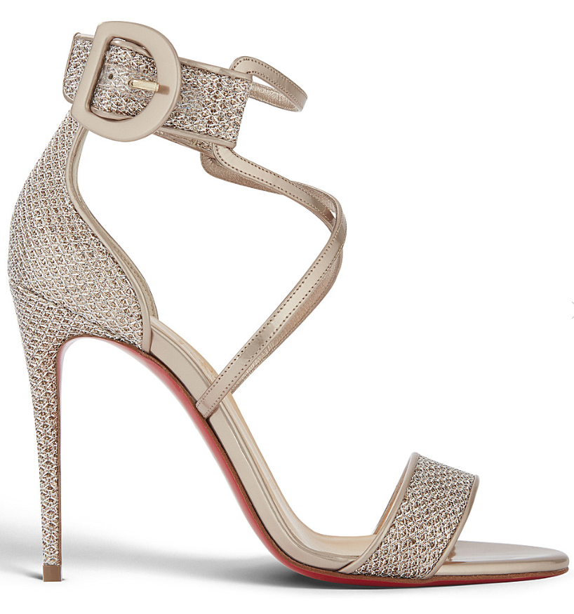 Christian Louboutin Choca 100 Colombe gold Criss Cross Strap Sandal Heel Pump 40