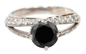 1.80 Carat Natural Black Diamond Solid 14KT White Gold Solitaire Engagement Ring