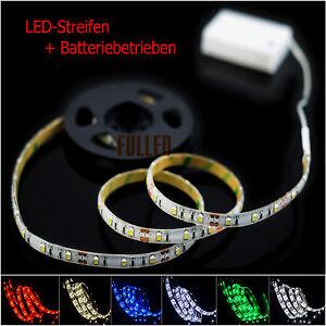 LED Leiste Streifen Band 100CM + Batterie box Schalter licht Batteriebetrie<wbr/>ben