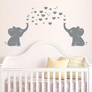 Image Is Loading Cute Elephants Wall Decals Music Hearts Baby Nursery
