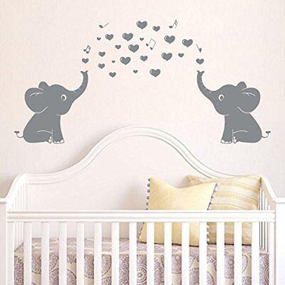 Cute Elephants Wall Decals Music Hearts Baby Nursery Decor Kid Room Sticker 714559286203 Ebay