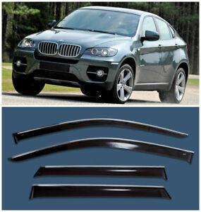 Chrome-Trim-Side-Window-Visors-Guard-Vent-Deflectors-For-BMW-X6-2008-2014