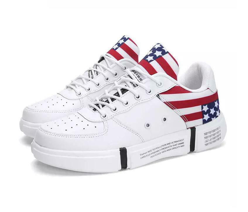 Hot Sale Boys Korea Mens Board Sneakers Shoes Breathable PU Lace Up Comfy Casual