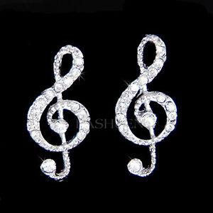 Image Is Loading W Swarovski Crystal Treble G Clef Musical Jewelry