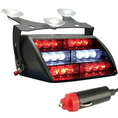 12V 18LED Red /& White Car Truck Van Dash Windshield Emergency Strobe Flash Light