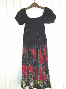 BNWOT-CUTE-BLACK-amp-RED-FLOWERY-MINIDRESS-WITH-SHORT-LACE-SLEEVES-SIZE-8