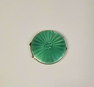 Art-Deco-Guilloche-Compact-Sterling-Silver-Green-Enamel-JG-LTD-1917-Birmingham