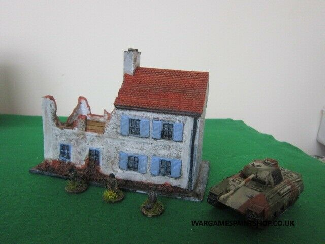 Painted Resin 20mm Large Normandy Ruined house, single casting, WW2 Wargame