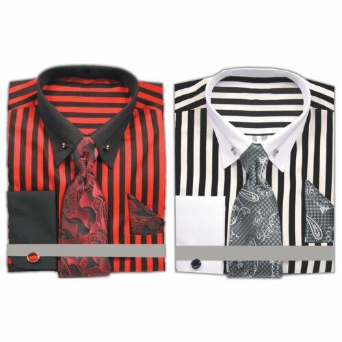 Men/'s French Cuff Thick Stripe Dress Shirt Collar Bar Neck Tie Hanky Cufflinks