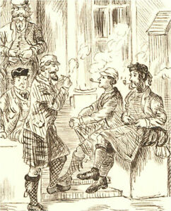 1866 Pen and Ink Drawing - Mr. Biggs & His Friends