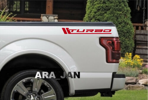 TURBO Vinyl Decal Sport Truck diesel sticker logo emblem Pickup bed 4wd 4x4 RED