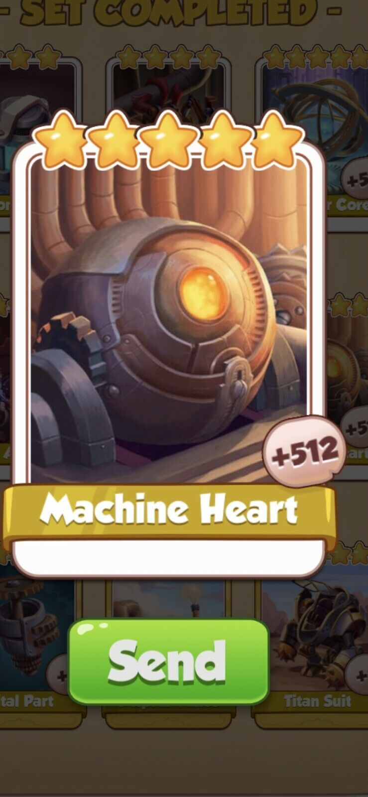 X 5 Machine Heart Cards from Steampunk Set Coin Master Card ( Fast Send )