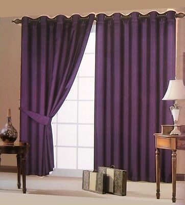 Fully Lined Ready Made Pair of Ring Top Eyelet Faux Silk Curtains With Tie Backs