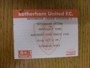 14-03-1998-Ticket-Rotherham-United-v-Mansfield-Town-small-mark-Thanks-for-v