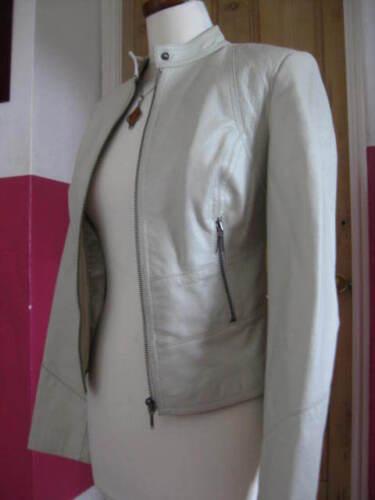 Ladies Jakke 8 Biker Racer 6 Real Next Leather Størrelse Ivory Fit Slim Gray Uk vwvqr0