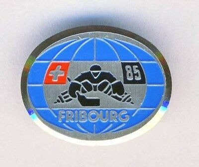 1985 IIHF WORLD Ice HOCKEY Championships PIN BADGE Fribourg