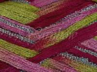 Euro Yarns ::broadway 06:: Ruffle Scarf Yarn Lime-pink W/silver 50% Off