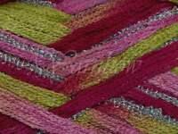Euro Yarns ::broadway 06:: Ruffle Scarf Yarn Lime-pink W/silver 50% Off