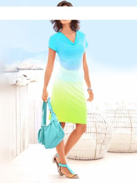 Kleid Heine Farbverlauf türkis weiß lemon Feinstrick Viskose Gr 38 40 42