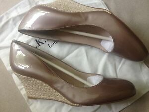 Details about LK Bennett Zella Champagne Nude Pearl Patent Leather Wedge Heel Shoes 8.5 41.5