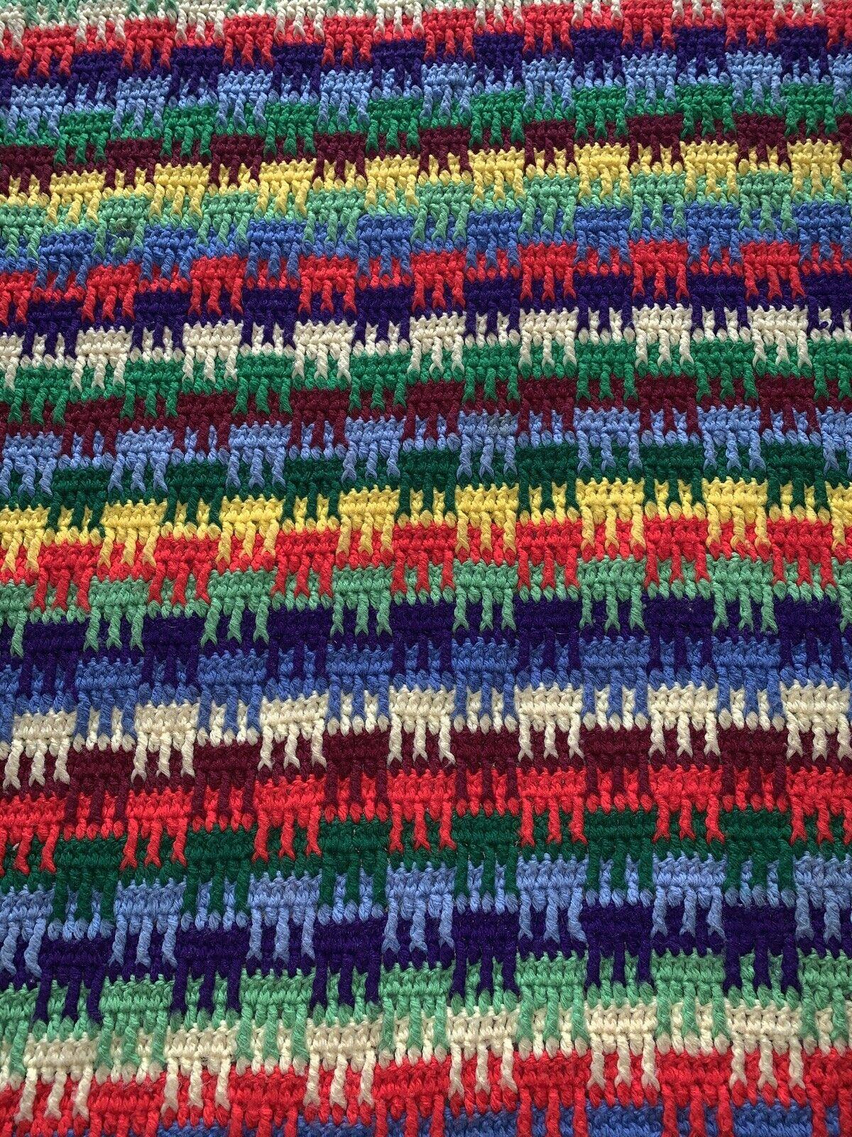"Crochet Afghan Blanket Multi color 5' x 46"" Different Design Per Side Green Red"