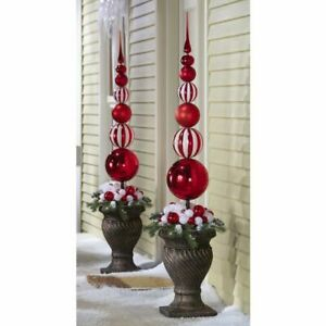 Collections Etc Red Christmas Ornament Ball Finial Stake-Missing Finial~PARTS | eBay