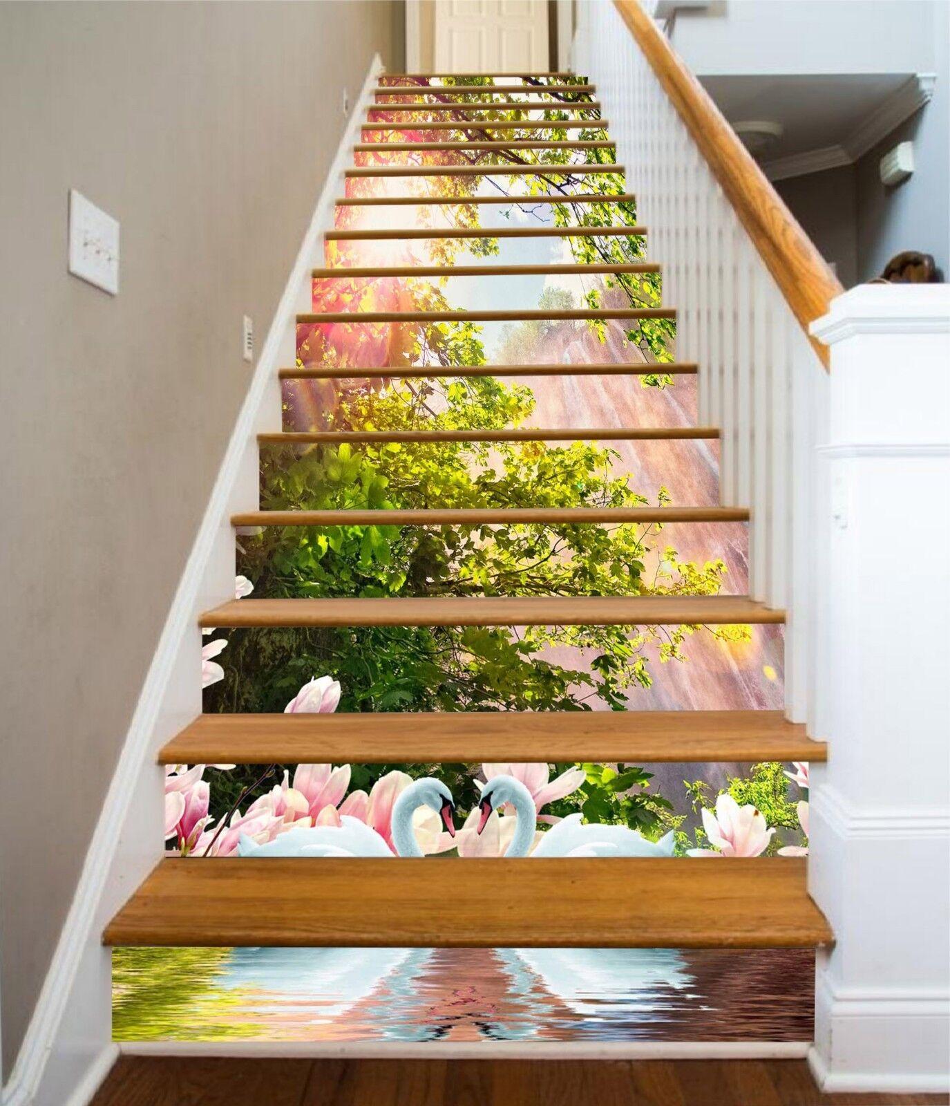 3D Sun Tree Flowers Stair Risers Decoration Photo Mural Vinyl Decal Wallpaper UK
