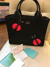 NWT Kate Spade Nylon Jewels Black Ladybugs SOLD OUT Embellished Quinn Bag