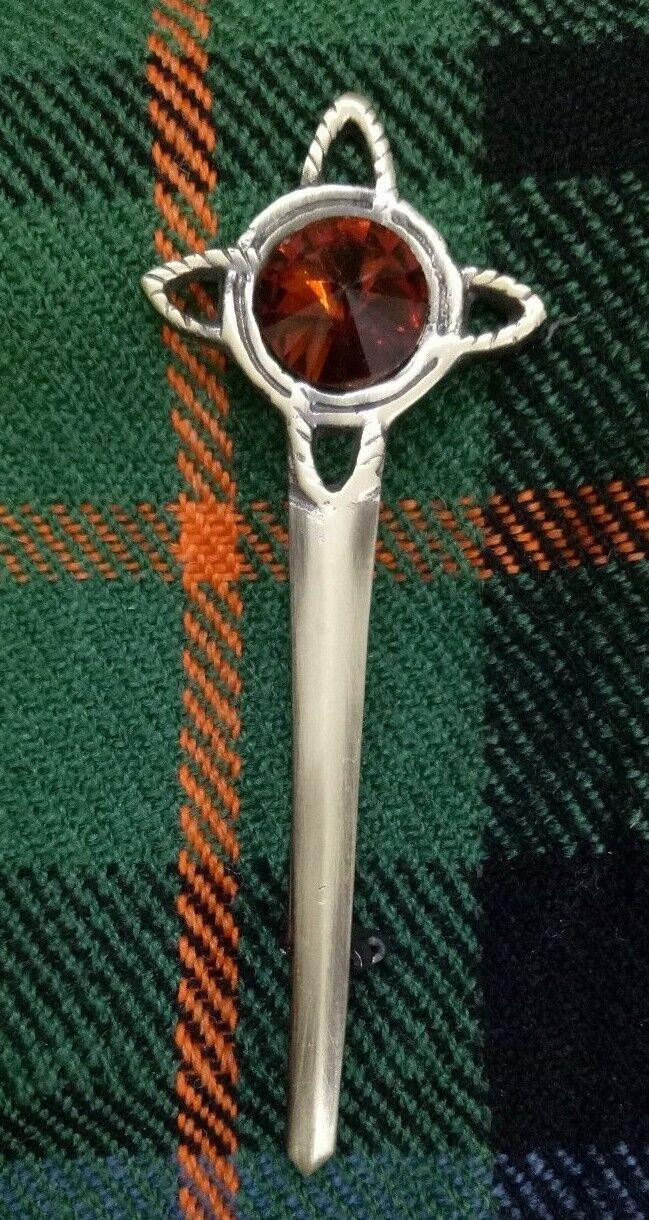 Celtic Knot Kilt Pin Brown Stone Antique Finish 4