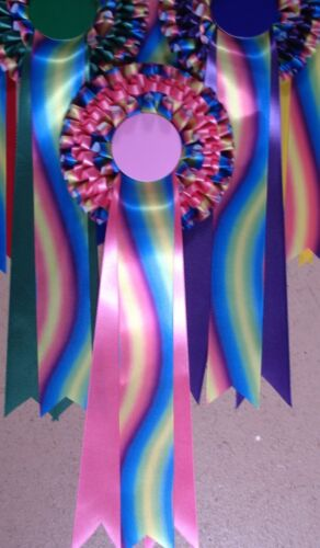 Rosettes New Rainbow ribbon 3 tier printed f.o.c.Dog Horse Party Children