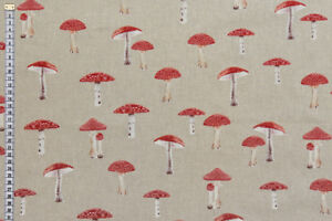 Toadstool-Fabric-Quality-Upholstery-Curtain-Cushions-amp-Crafts-Cotton-Fabric