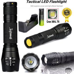 X800 Tactical 5000lm Flashlight LED Zoom Military Torch G700 Battery Charger