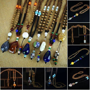 Women-Men-Vintage-Ethnic-Nepal-Buddhist-Wood-Beads-Statement-Necklace-Jewelry