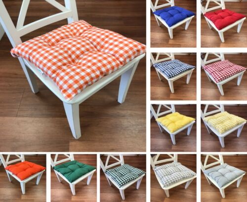 Seat Pad Dining Room Garden Kitchen Chair Seat Cushions Tie On,Plain or Gingham
