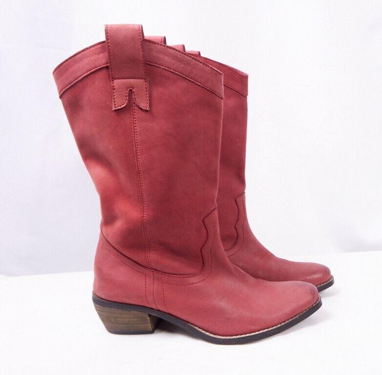 DIBA Pre Tender Dark Pink Red Leather Western Cowgirl Cowboy Boho Boot Women 6.5