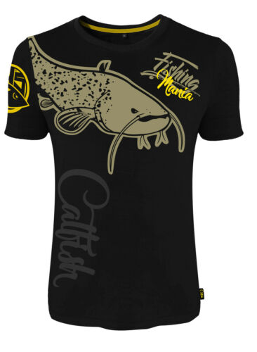 T-Shirt HOTSPOT DESIGN Fishing Mania Catfish Für Welsangler schwarz