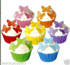 42 PRE CUT SMALL EDIBLE RICE WAFER PAPER ASSORTED BUTTERFLY CUPCAKE PARTY TOPPER