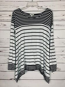 Umgee-USA-Boutique-Women-039-s-S-Small-Black-White-Striped-Cute-Knit-Tunic-Top-Shirt