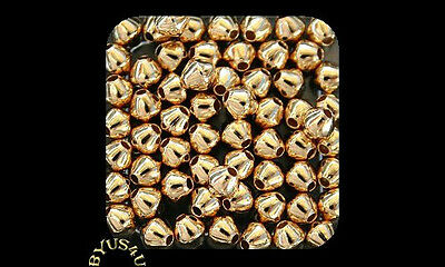 SPACER BEAD DOUBLE CONE BICONE 4mm SMOOTH or CORRUGATED CHOOSE PLATING 100pc