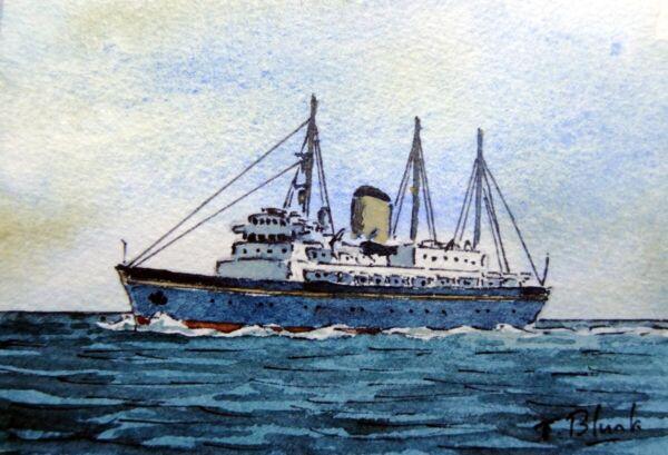 """Original Aquarell - Königliche Yacht """"britannia"""". Wir Nehmen Kunden Als Unsere GöTter"""