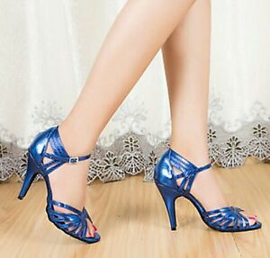 New Women Blue Snakeskin Print Latin Salsa Ballroom Dance Shoes All Size
