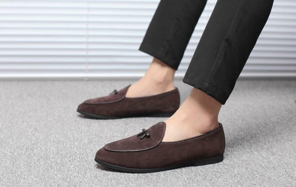 18 Hot Mens Suede Slippers Flats With Bowtie Loafers Pull on Belgian Dress shoes