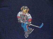 Vintage 90's Ralph Lauren POLO SPORT BEAR Hockey USA T Shirt men XL hip hop rap