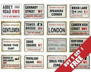 London-England-Street-SIGN-A4-POSTERS-30x21cm-Famous-Retro-Vintage-UK-BRITISH