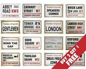 London England Street SIGN A4 POSTERS  30x21cm Famous Retro Vintage UK BRITISH