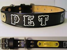 Black Leather Small  Dog Collar Personalized Pet Name & Brass Plate Tag