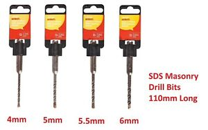 Rotary Percussion Drills 4mm-6mm 110mm SDS Masonry Drill Bits TCT Tipped SDS