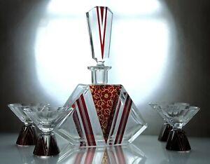 Art-Deco-Bohemian-Karl-Palda-Clear-Cut-Glass-Ruby-Red-Enamel-Decanter-Set