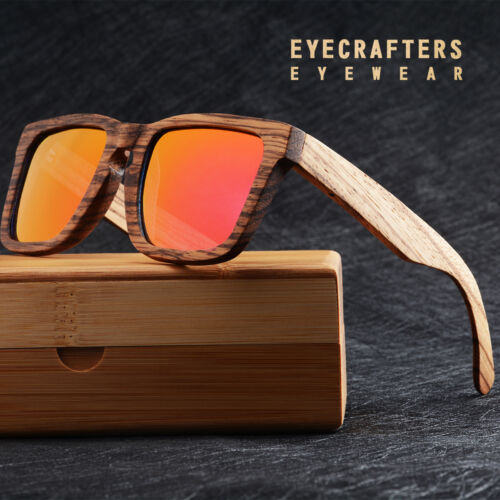 Handmade Zebra Wooden Sunglasses Polarized Square Retro Vintage Mirrored Eyewear