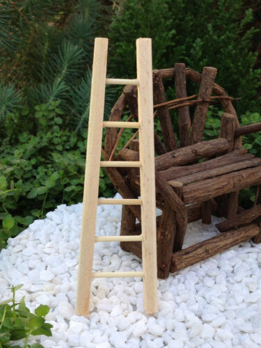 "Miniature Dollhouse FAIRY GARDEN Accessories ~ Graduated 4.75/"" Wood Ladder ~ NEW"